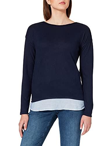 Springfield Camiseta Bimateria Lisa, Azul Medio, S para Mujer