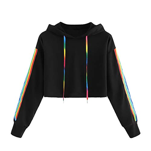 Susenstone Sweat A Capuche Femme Pas Cher à La Mode Sweatshirts Court Hoodies Manche Longues Arc en Ciel Imprimé Pull à Capuche (M(EU36), Noir)