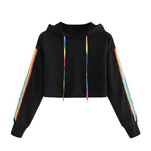 ESAILQ Damen beiläufige lose Lange Hülsen Sweatshirt Pullover Oberseiten Bluse (S, Schwarz)