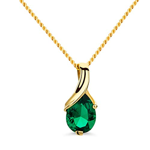 Orovi Schmuck Damen Halskette Gelbgold mit Tropfen Anhänger Edelstein/Geburtsstein grüner Smaragd Kette aus 14 Karat (585) Gold
