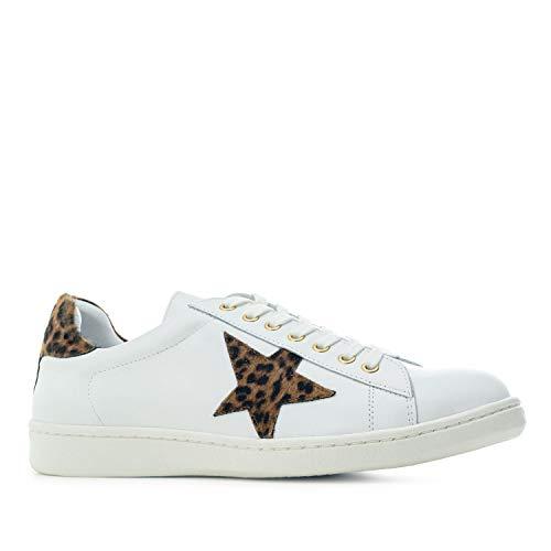 Andres Machado - Zapatillas Deportivas para Mujer - Chicas - Trainers - Sneakers - Luna - en Cuero Blanco - con Diferentes Detalles de Cuero Estampado Animal. Tallas Grandes EU 42 a 45.