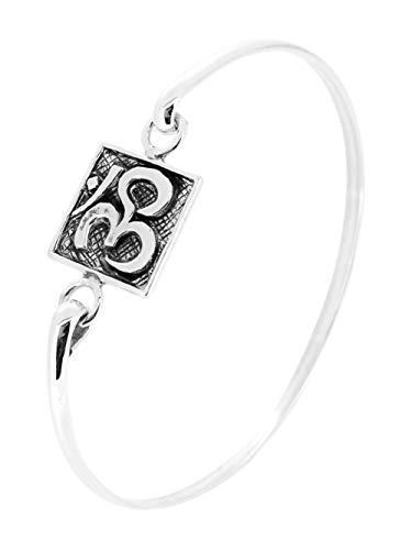 TreasureBay Ohm, OM Silber-Armreif für Damen und Mädchen, Yogis Silber-Armreif