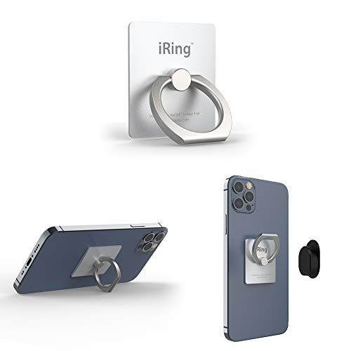 iRing Original - Include Hook Mount for Wall or Car Cradle. AAUXX Cell Phone Ring Grip Finger Holder, Mobile Stand, Kickstand. iPhone, Android, Smartphones, Tablets.(Silver)…