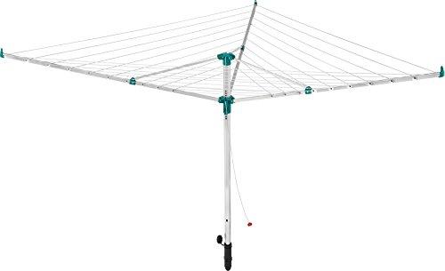Leifheit Wäscheschirm Linotrend 500 Longline mit extralangen Außenleinen, einfach zusammenklappbare Wäschespinne, Wäscheständer mit 46 m Leinenlänge