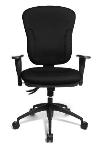Topstar Wellpoint 30 SY, ergonomischer Bürostuhl, Schreibtischstuhl, Muldensitz, inkl. Armlehnen, Bezug schwarz