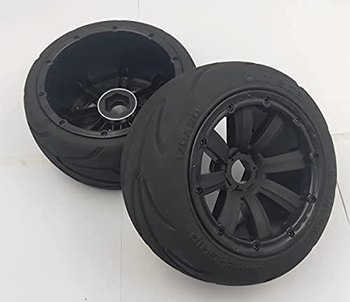 2 piezas delanteras o traseras Super Grip Road Wheel Slick Tire Racing Slick Juego de neumáticos para 1/5 Madmax HPI Rofun Rovan KM Baja 5B Rc Piezas de repuesto para coches de juguete (Color: Azul tr
