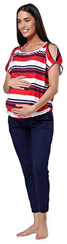 HAPPY MAMA Damen Mutterschaft Stillen Spielanzug Trainingsanzug Set 1024p (Rote Streifen und Marine, EU 42, XL)