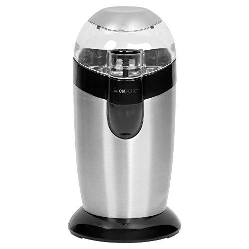 Clatronic KSW 3307 // Elektrische Kaffeemühle mit Schlagwerk // Edelstahl // 40 g Fassungsvermögen // Impuls-Betrieb // Edelstahl
