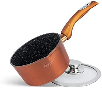 Edenberg-15-Piece Stone Cookware Set- Suitable for all Heat Sources Including Induction -Copper/Metallic