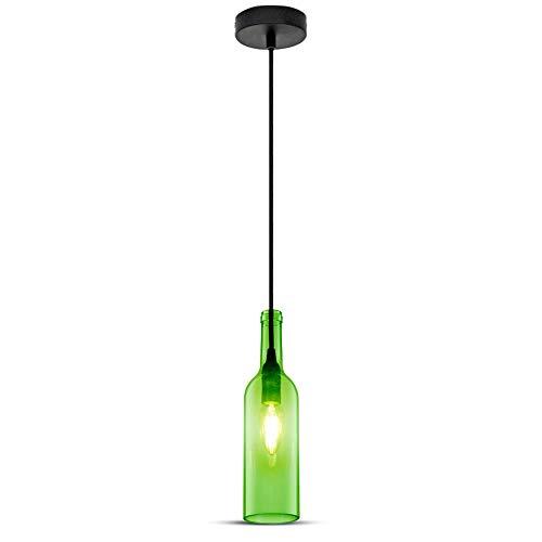 V-TAC SKU.3767 Lámpara Colgante forma Botella, 60W, Verde, 72 x 280 x 1150 mm