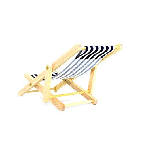 Puppenhaus Zubehör, Minipuppen Faltbare Holzliegestuhl Mini Chaiselongue Spielzeug mit Streifen Puppenhaus Gartenmöbel Zubehör zufällige Farbe