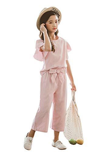 BOFETA キッズ服 ロータスリーフスリーブ 日常 Tシャツ 可愛い 洋服 ショート パンツ 普段着 通気 柔らかい 上下セット ゆったり 洋服 おしゃれ Tシャツ+パンツ D11-ピンク 110