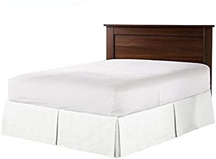 featured product HH Linen 600-Tc 100% Cotton Split Corner Tailored Bed Skirt - 19 inch Drop,  Solid Bed-Skirt 1Pc Platform (Available in 26 Colors) Twin XL White