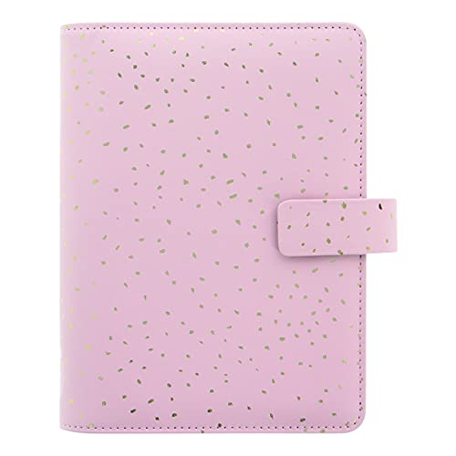 Filofax Confetti Organizer, Personal Size, Rose Quartz – Leather-Look Cover with Gold Foil Accents, Six Rings, Week-to-View Calendar Diary, Multilingual, 2022 (C028723-22)