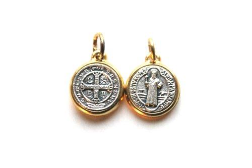 14mm Saint ST Benedikt Medaille Gold Farbige Metall Charm Anhänger, Kette und Box