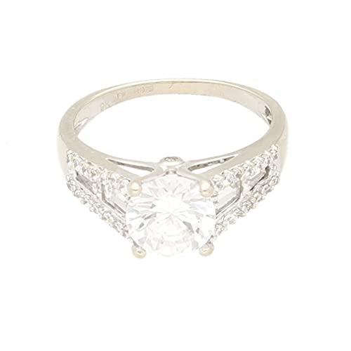Anillo solitario de oro blanco de 9 quilates con diamantes simulados y detalles de baguette (tamaño N)   Anillo de lujo para mujer