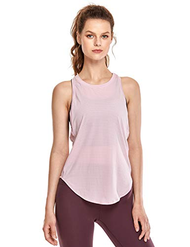 CRZ YOGA Deportiva para Mujer sin Mangas de Malla Yoga Camiseta de Tirantes Rosa Claro 40