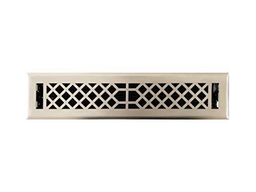 Empire Register Co, Antique Style Design, Brushed Nickel Finish, Heavy Duty Floor Register. Floor Vent Covers Size - 2 x 14 inch, Overall Face Size - 3.5 x 15.5 inch