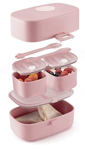 Evolico ♻ Nachhaltige Lunchbox für Kinder - 3 integrierte praktische Dosen - Extra kinderfreundliche Bento Box - Perfekt für Unterwegs (Rosa)