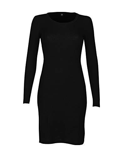 DILLING Langarm Nachthemd für Damen aus 100% Bio-Merinowolle Schwarz 40