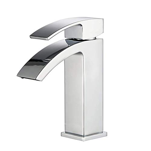 """HOMFA Grifo Lavabo con Agua Suave Caliente y Fría para Baño Grifos Baño Monomando Lavabo Brillante Cromado Conexión 3/8"""" 21.5 x 15.5 x 4.5 cm"""