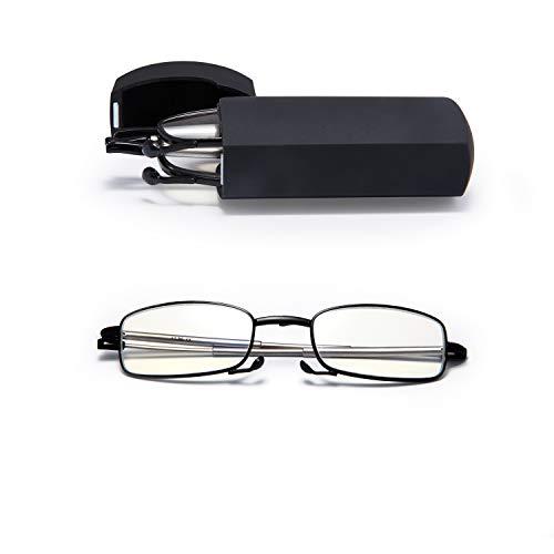 LianSan Anti blauwe vouwbril. Zwart Full Frame met telescopische armen en rechthoekige optische kwaliteit lenzen. voor mannen en vrouwen. Plus gratis Slim Pocket Size Hard Case. 4.00 Zwart