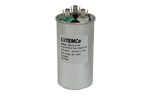 TEMCo Motor Dual Run Capacitor RC0138-370-440 VAC Volts 30+5 uf Round 50/60 Hz AC Electric - Lot-1