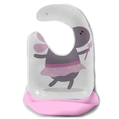 ZHANGhome Bavoirs de bébé pour garçons Doux Hippo Frendly détachable Tablier d'alimentation en silicone Serviette de souris Nourrissage pour bébé Dribble Bavoir Bavoir Infant Bib Boy