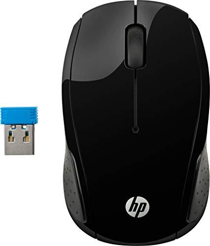 HP Mouse 220 Wireless, Tecnologia LED Blu, Sensore Ottico da 1300 DPI, 3 Pulsanti e Rotella di Scorrimento Integrata, Impugnature Pratiche e Funzionali, Ricevitore Nano Incluso, Design Moderno, Nero