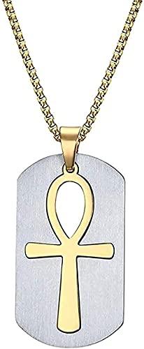 Collares Mujeres Hombres Hombres Egipto Cruz Logo S Colgante Etiqueta de perro militar Etiqueta de equipaje Collar de cadena de metal Joyería de acero inoxidable 24 Para mujeres Hombres Regalos
