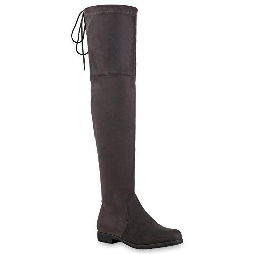 Basic Damen Overknees Schleifen Stiefel Velours Samt Flach Langschaftstiefel Overknee Boots Blockabsatz Schuhe 121549 Grau 36 Flandell