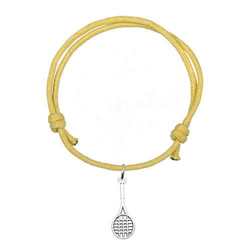 Athleisure Style Wax Cord Pulseras Ajustables Raqueta de Tenis Charm Mujer Ocho Colores Amarillo