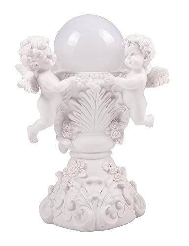 BURI LED Engel am Brunnen Schutzengel Solarleuchte Leuchtkugel Grabschmuck Dekoengel