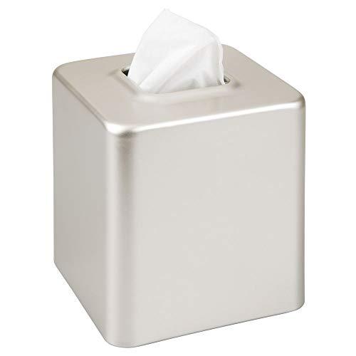 mDesign - Tissuehouder - voor tissuedozen/tissues/gezichtsdoekjes - voor slaapkamer en badkamer - voor wastafels, kaptafels, nachtkastjes, bureaus en tafels- vierkant/staal - satijn