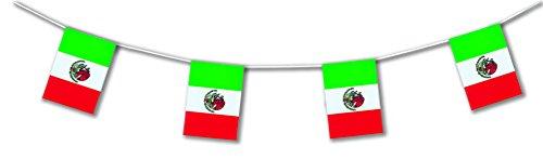 5m Outdoor-Wimpelkette * MEXIKO * als Deko für Länder- und Firmen-Events | Lange haltbar aus Plastik hergestellt | Hochwertige Flaggen-Dekoration für Unternehmen, Abschied-Partys & Mexico-Fans