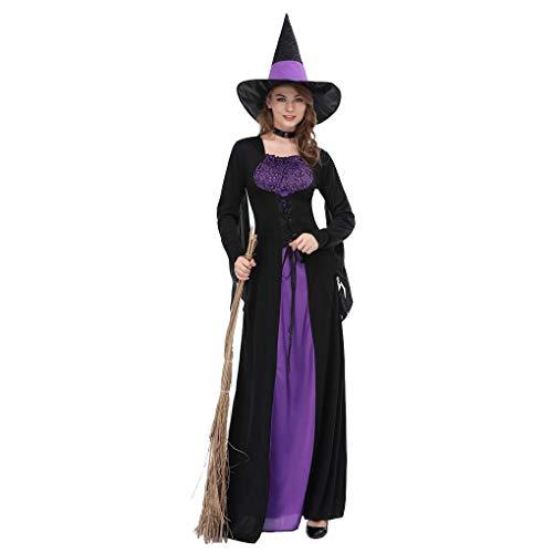 Beaums Vestido de bruja púrpura negro para mujer Bruja Cosplay Disfraz de Halloween para adultos, Disfraz de fiesta de Halloween para Cosplay