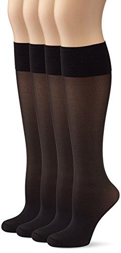 Marca Amazon - Hikaro - Minimedias finas para mujer con función protectora, acabado mate, pack de 4 pares, 40 D, negro (negro 610), talla 35-38 (antes marca Myway)