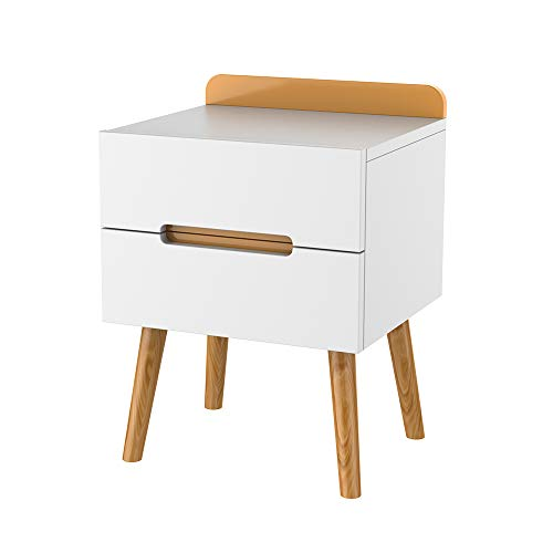 ZZBIQS Mesita de noche de madera, color blanco, mesita de noche con 2 cajones, moderna mesita de noche pequeña para dormitorio (blanco y natural)
