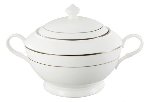 Lorren Home Trends La Luna Collection Bone China Silver Design Soup Tureen with Lid