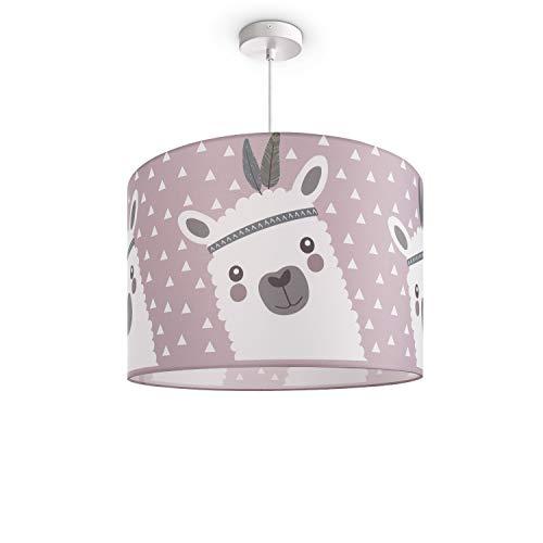 Kinderlampe Deckenlampe LED Pendelleuchte Kinderzimmer Lampe Lama-Motiv, E27, Lampenschirm:Pink (Ø45.5 cm), Lampentyp:Pendelleuchte Weiß + Leuchtmittel