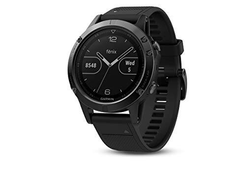 Garmin Fenix 5- Reloj Multideporte, con GPS y medidor de frecuencia Cardiaca, Lente de Cristal y Bisel de Acero Inoxidable, 47 mm, Cinta Negra (Reacondicionado)