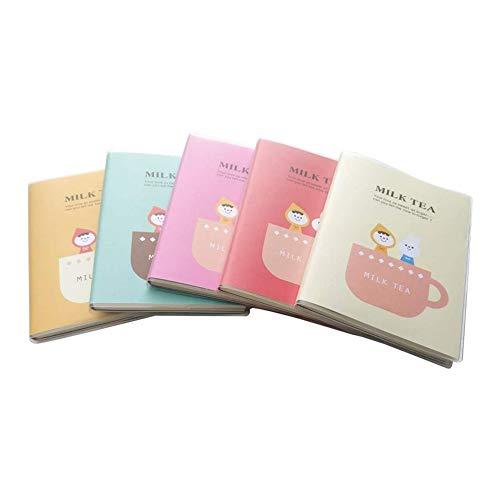 PROUNON Time Tea Time Memo Samples Portable Leche Tea Diario Diario Cuaderno 60 Hojas Linda Moda Estudiante Cuadernos Bloc (Color : Beige)