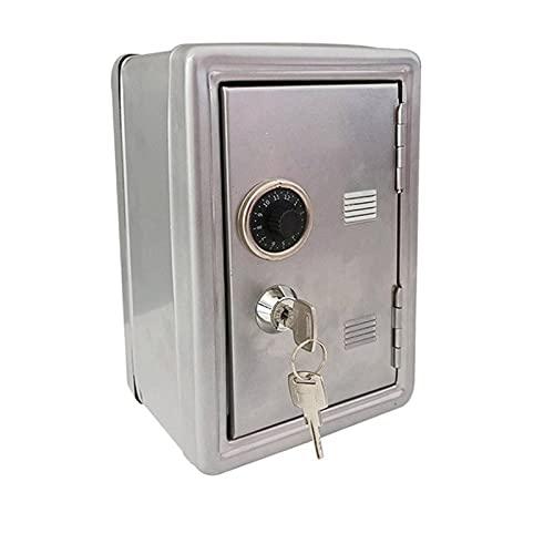 NC Mini Caja Fuerte de Metal, Caja de Seguro para El Hogar Mini Caja Fuerte de Metal con Cerradura de CombinacióN Doble y Cerradura con Llave, Oficina En Casa Hotel Negocios JoyeríA
