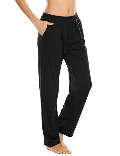 Schlafanzughose Damen Pyjamahosen Lang Jerseyhose Unifarbe Hausehose mit Zwei Taschen, 9750_schwarz, Gr.- L