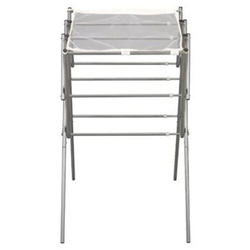 Household Essentials 5127 Collapsible Expandable Metal Clothes Drying Rack  Dry Wet Laundry Indoors  Satin Silver