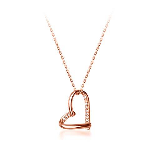 mingtian Genuino Plata de Ley 925 Corazón Romántico Brillante CZ Colgante Collar de Clavícula Joyería de Fiesta de Boda de Las Mujeres