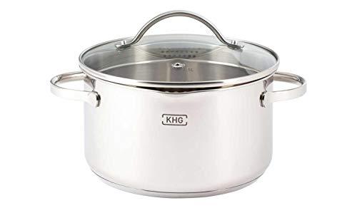 KHG Kochtopf mit Ausguss Silber Edelstahl Kochtopf Induktionsfähig Küche Durchmesser: 20 cm