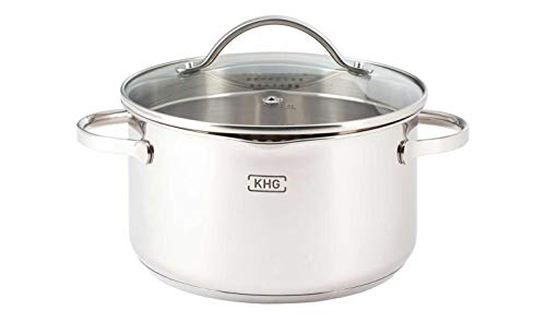 KHG Kochtopf mit Ausguss Silber Edelstahl Kochtopf Induktionsfähig Küche Durchmesser: 16 cm