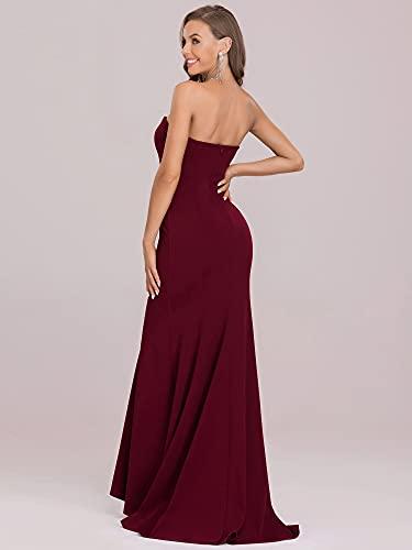 Ever-Pretty Vestido de Noche sin Tirantes para Mujer Largo Sirena Corte Imperio Ajustado Elástico Elegantes Burdeos 40