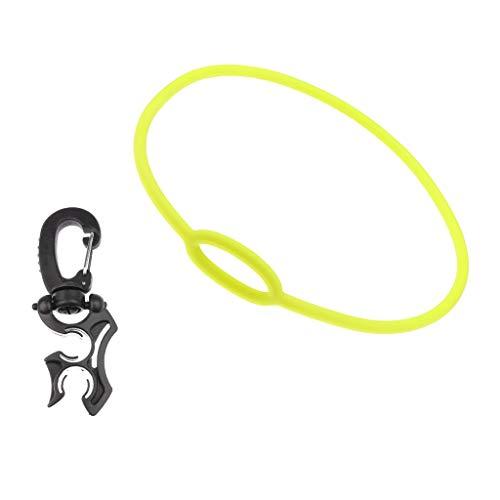 XinXinFeiEr Soporte doble de silicona para manguera de buceo con clip y regulador de 72 cm, color negro